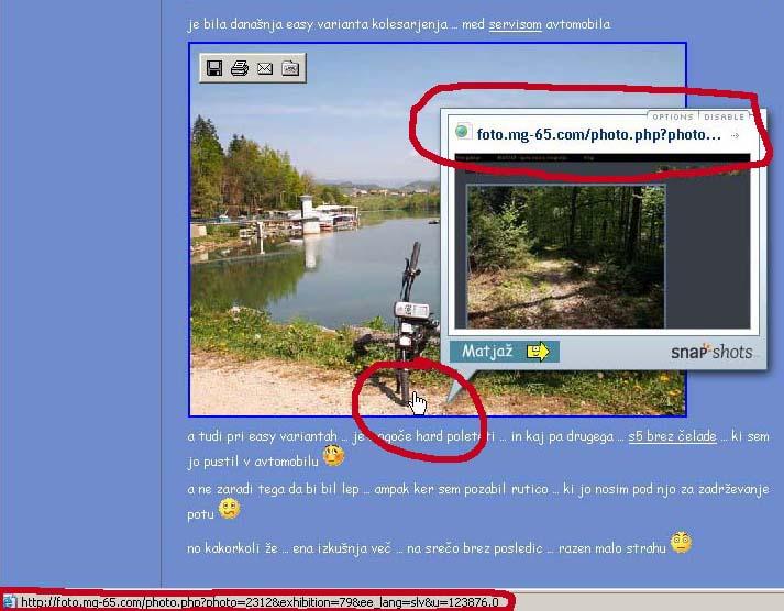 Prikaz zunanje spletne povezave s fotografije - z naslovom v statusni vrstici in snap predogledom - klikni za večjo sliko