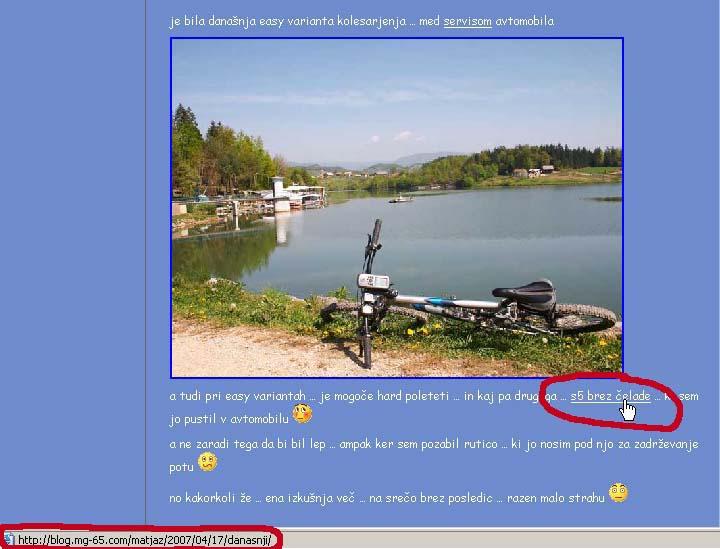 Prikaz spletne povezave - z naslovom v statusni vrstici - klikni za večjo sliko