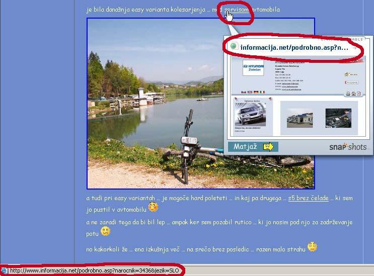 Prikaz zunanje spletne povezave - z naslovom v statusni vrstici in snap predogledom - klikni za večjo sliko